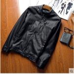 Pre-Order เสื้อแจ็คเก็ตหนัง แขนยาว หนัง PU คุณภาพดี สีดำ (03507)