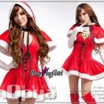 ชุดแฟนซี ชุดคอสเพลย์ ชุดCosplay ปีใหม่ = ชุดซานต้า ชุดซานตี้ คริสมาตส์ เดรสกำมะหยี่ มีฮู๊ด =