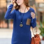 (Pre-Order) เสื้อไหมพรมถักจากผ้าฝ้ายผสมขนสัตว์ แฟชั่นเสื้อสไตล์เกาหลี สีน้ำเงิน