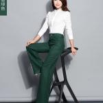 Pre-Order กางเกงแฟชั่นผู้หญิง กางเกงทำงานขาตรง ขากระบอกใหญ่ ผ้าฝ้ายผสมเส้นใยสังเคราะห์ สีเขียว