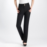 (Pre-Order) กางเกงทำงานผ้าลินิน กางเกงสแล็คลินิน กางเกงทรงขาตรง ขากระบอก สีดำ