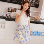 Pre-Order ชุดเดรสผ้าลูกไม้ กระโปรงผ้าฝ้ายพิมพ์ลายดอกไม้โทนสีฟ้า แฟชั้นสไตล์เกาหลีมาใหม่ 2014