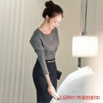 Pre-order ชุดเดรสกระโปรงยาว เอวสูงสีดำ เสื้อแขนยาวสีเทา แฟชั่นเกาหลีมาใหม่ปี 2015