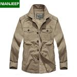 Pre-order เสื้อแจ็คเก็ต เสื้อคลุมกันหนาว กันลม คอปก หนุ่มมาดเท่ ขาลุย สีกากี NIAN Jeep