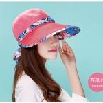 Pre-order หมวกแฟชั่น หมวกแก็ปปีกกว้าง หมวกฤดูร้อน กันแดด กันแสงยูวี สีแดงแตงโมแต่งด้วยผ้าพิมพ์ลายดอกไม้