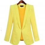 Pre-Order เสื้อสูททำงานแขนยาว เสื้อสูทผู้หญิง สูทลำลอง สีเหลือง แฟชั่นชุดทำงานสไตล์เกาหลี
