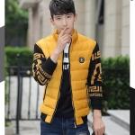 Pre-Order เสื้อแจ็คเก็ตผู้ชายสีทูโทน เสื้อแจ็คเก็ตธุรกิจผู้ชาย เสื้อแจ็คเก็ตผู้ชายสไตล์ลำลอง ผ้าฝ้ายผสมหนัง สีเหลือง