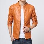Pre-Order เสื้อแจ็คเก็ตหนังปั้มลายตาราง สีส้ม