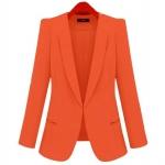Pre-Order เสื้อสูททำงานแขนยาว เสื้อสูทผู้หญิง สูทลำลอง สีส้ม แฟชั่นชุดทำงานสไตล์เกาหลี