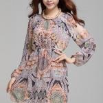(Pre-Order) เดรสผ้าชีฟอง แขนยาว มีซับใน ลายภาพพิมพ์ผสม สีหวาน ๆ แฟชั่นสไตล์เกาหลี