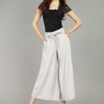 Pre-Order กางเกงผ้าลินิน ขาบาน กางเกงลำลองเหมาะกับฤดูร้อน สีเทา