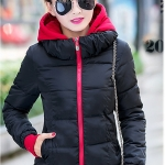 พร้อมส่ง เสื้อแจ็คเก็ตผู้หญิงแขนยาว เสื้อกันหนาวผ้าร่ม มีฮู้ด ฮู้ดถอดออกได้ สีดำ