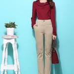 Pre-Order กางเกงขายาวผู้หญิงทำงานผ้ายืด เอวสูง ขาตรงกระบอกเล็ก ผ้าฝ้ายผสมสแปนเด็กซ์ กางเกงแฟชั่นเกาหลี สีกากีอ่อน