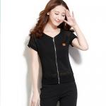 Pre-Order ชุดออกกำลังกายผู้หญิง ชุดกีฬาฤดูร้อนผู้หญิง ชุดลำลอง สไตล์สาวคล่อง เสื้อแขนสั้นและกางเกงขาสามส่วน สีดำ