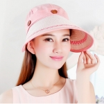 Pre-order หมวกแฟชั่น หมวกแก็ปปีกกว้าง หมวกฤดูร้อน กันแดด กันแสงยูวี สีชมพู