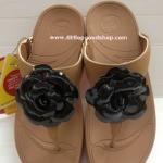 รองเท้า Fitflop  Florent ดอกไม้ 1 ดอก ดอกสีดำ/คาดน้ำตาล No.FF055