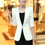 Pre-Order เสื้อสูททำงานแขนยาว เสื้อสูทผู้หญิง สูทลำลอง สีขาว แฟชั่นชุดทำงานสไตล์เกาหลี