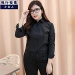 (Pre-order) เสื้อเชิ้ตดำ เสื้อเชิ้ตแขนยาวสีดำผู้หญิง ไซส์ใหญ่