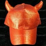 หมวกกากเพชร กลิตเตอร์ Glitter สีแดง Devil