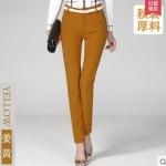 Pre-Order กางทำงานผู้หญิง กางเกงลำลอง กางเกงสแล็ค ขาตรง สีเหลือง