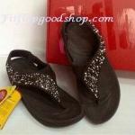 รองเท้า Fitflob Limited รุ่นเพชรกระจายใบไม้ รัดส้น สีน้ำตาล No.FF157