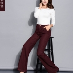 Pre-Order กางเกงแฟชั่นผู้หญิง กางเกงทำงานขาตรง ขากระบอกใหญ่ ผ้าฝ้ายผสมเส้นใยสังเคราะห์ สีแดงเข้ม