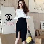 Pre-Order ชุดเดรสทำงาน เดรสลำลอง เสื้อผ้าชีฟองสีขาว กระโปรงสีดำ แฟชั่นสไตล์เกาหลี ปี 2014