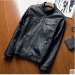 Pre-Order เสื้อแจ็คเก็ตหนัง แขนยาว หนัง PU คุณภาพดี สีดำ (03515)