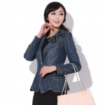 (Pre-order) เสื้อสูทยีนส์ผู้หญิง ดีไซน์เก๋ ติดโบว์ที่ปกเสื้อ สูทธุรกิจ สูทผู้หญิง เสื้อคอวี มีปก แขนยาว แฟชั่นเกาหลี