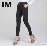 Pre-Order กางเกงแฟชั่นผู้หญิง กางเกงทำงานขาตรง ขากระบอกใหญ่ ผ้าโพลีเอสเตอร์สีดำลายริ้วขาว