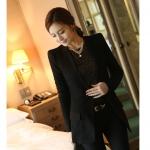 พรีออเดอร์ ชุดสูทผู้หญิง (เสื้อสูทแขนยาว+กางเกง) ผ้าขนสัตว์ผสม แฟชั่นเกาหลี