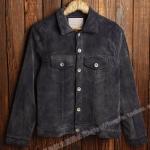 Pre-Order เสื้อเจ็คเก็ตผู้ชายผ้าลูกฟูก เสื้อลูกฟูกกันหนาว สีเทาดำ
