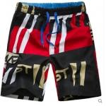 Pre-order กางเกงขาสั้น กางเกงลำลองฤดูร้อน กางเกงทะเล แฟชั่นสไตล์เกาหลี สำหรับหนุ่มไซส์ใหญ่ Green and red stripes