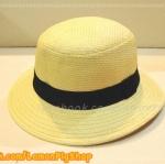 หมวกสาน ทรงหัวตัดมน สีขาวปีกรอบ คาดแถบดำ สุดน่ารัก !!!