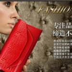 (Pre-Order) กระเป๋าคลัทช์หนังแท้ (Clutch Bags) รูปซองจดหมาย ปั้มนูนลายหนังจระเข้ กระเป๋าแฟชั่นเกาหลี แฟชั่นกระเป๋าสไตล์เกาหลี