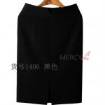 Pre-Order กระโปรงทำงาน ทรงตรง ผ้าขนสัตว์อย่างบาง สีดำ สำหรับสาวสะโพกใหญ่ ต้นขาใหญ่ กระโปรงทำงานแฟชั่นเกาหลี