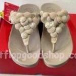 รองเท้า Fitflop Fleur ดอกไม้ 5 ดอก หนังแก้ว/หนังกลับ สีขาว No.FF316