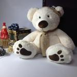 ตุ๊กตาหมีสีขาว ใส่หมวก size XL