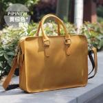 Pre-Order กระเป๋าธุรกิจ กระเป๋าสะพาย กระเป๋าหิ้ว หนังแท้ สไตล์ย้อนยุค (Retro) สีเหลืองส้มผิวด้าน