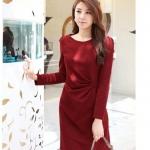 Pre-Order ชุดเดรสทำงาน ชุดแสคทำงาน ผ้าโพลีเอสเตอร์ผสม สีแดง แขนยาว สไตลื Luxury แฟชั่นสไตล์เกาหลี ปี 2014 มีบิ๊กไซส์