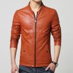 Pre-Order เสื้อแจ็คเก็ตหนังคอบัว สีส้ม