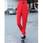 Pre order กางเกงทำงาน กางเกงลำลอง กางเกงฮาเร็ม จับจีบด้านหน้า กางเกงแฟชั่นเกาหลี สีแดง