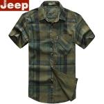Pre-order เสื้อเชิ๊ตแขนสั้น ลายสก๊อตโทนสีเขียว แฟชั่นสไตล์อเมริกันคลาสสิก หนุ่มมาดเท่ NIAN Jeep