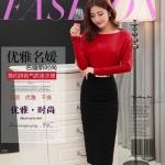 Pre-order ชุดเดรสกระโปรงยาว เอวสูงสีดำ เสื้อแขนยาวสีแดง แฟชั่นเกาหลีมาใหม่ปี 2015