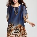 (Pre-Order) เดรสผ้าชีฟอง แขนยาว มีซับใน ลายเสือดาว - พื้นสีน้ำเงิน แฟชั่นสไตล์เกาหลี