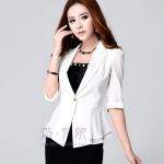 Pre-Order เสื้อสูททำงาน เสื้อสูทผู้หญิง สูทลำลอง สูทคอวี คอปก แขนสามส่วน แฟชั่นชุดทำงานสไตล์เกาหลีปี 2014 สีขาว