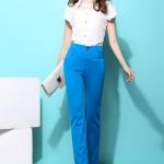 Pre-Order กางเกงขายาวผู้หญิงทำงานผ้ายืด เอวสูง ขาตรงกระบอกเล็ก ผ้าฝ้ายผสมสแปนเด็กซ์ กางเกงแฟชั่นเกาหลี สีฟ้า