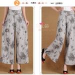 Pre-Order กางเกงผ้าลินินพิมพ์ลาย ขาบาน กางเกงลำลองเหมาะกับฤดูร้อน ลายหมึก