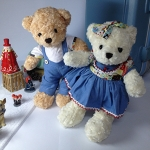 ตุ๊กตาหมีคู่ ใส่ชุดยีนส์ size M