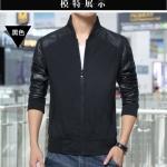 Pre-Order เสื้อแจ็คเก็ตผู้ชายสีทูโทน เสื้อแจ็คเก็ตธุรกิจผู้ชาย เสื้อแจ็คเก็ตผู้ชายสไตล์ลำลอง ผ้าฝ้ายผสมหนัง สีดำ